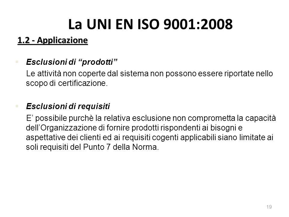 La UNI EN ISO 9001:2008 1.2 - Applicazione 19 §Esclusioni di prodotti Le attività non coperte dal sistema non possono essere riportate nello scopo di certificazione.