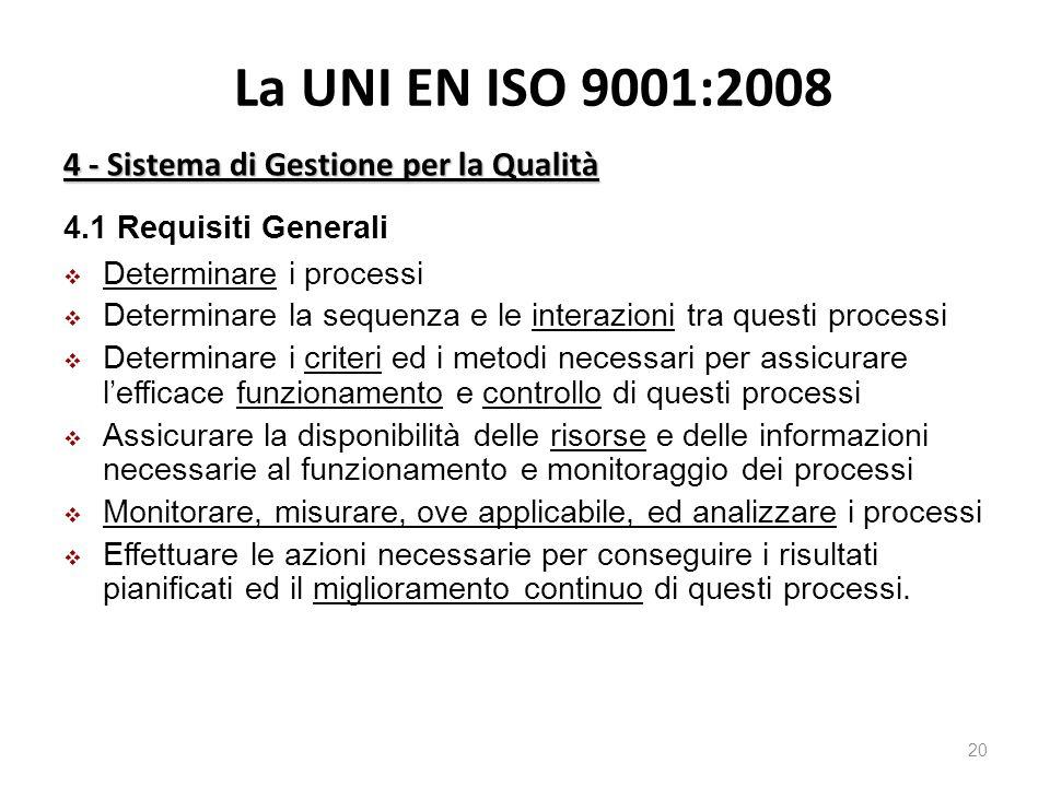 La UNI EN ISO 9001:2008 4 - Sistema di Gestione per la Qualità 20 4.1 Requisiti Generali  Determinare i processi  Determinare la sequenza e le interazioni tra questi processi  Determinare i criteri ed i metodi necessari per assicurare l'efficace funzionamento e controllo di questi processi  Assicurare la disponibilità delle risorse e delle informazioni necessarie al funzionamento e monitoraggio dei processi  Monitorare, misurare, ove applicabile, ed analizzare i processi  Effettuare le azioni necessarie per conseguire i risultati pianificati ed il miglioramento continuo di questi processi.