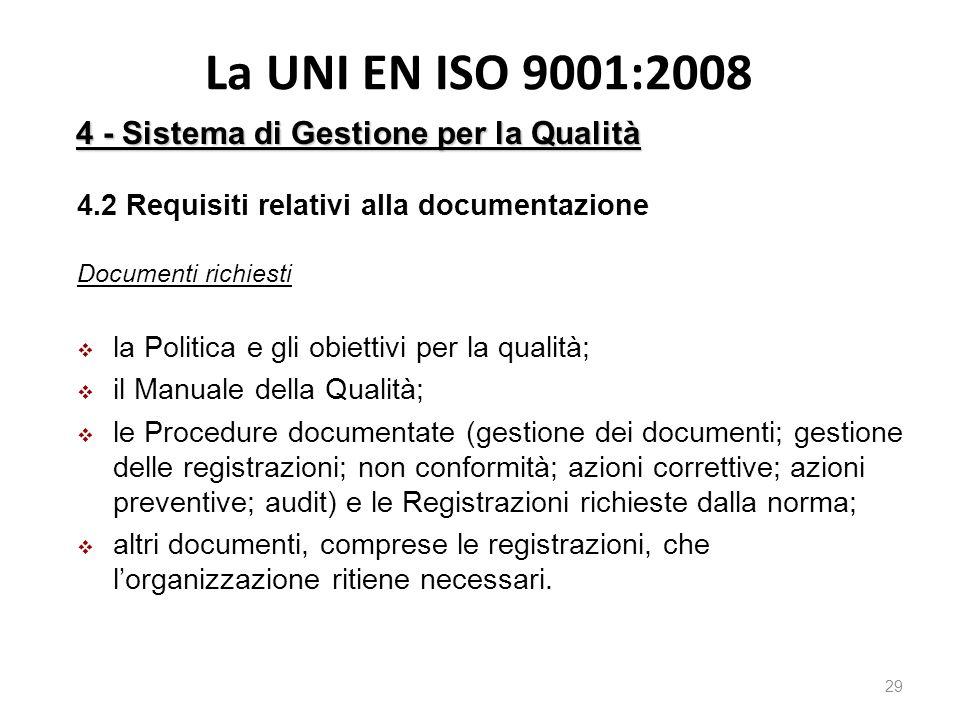 La UNI EN ISO 9001:2008 29 4.2 Requisiti relativi alla documentazione Documenti richiesti  la Politica e gli obiettivi per la qualità;  il Manuale della Qualità;  le Procedure documentate (gestione dei documenti; gestione delle registrazioni; non conformità; azioni correttive; azioni preventive; audit) e le Registrazioni richieste dalla norma;  altri documenti, comprese le registrazioni, che l'organizzazione ritiene necessari.