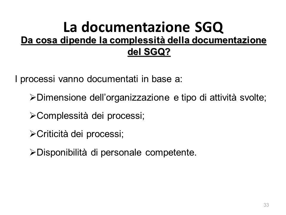 La documentazione SGQ 33 Da cosa dipende la complessità della documentazione del SGQ.