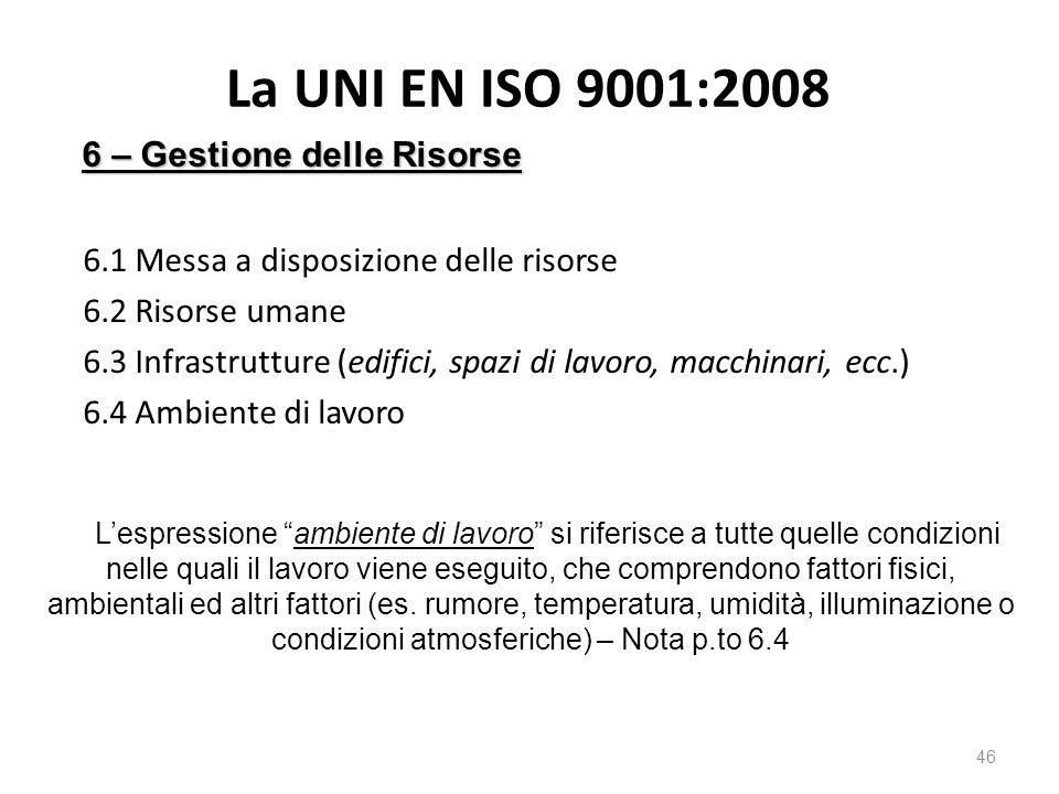 La UNI EN ISO 9001:2008 6.1 Messa a disposizione delle risorse 6.2 Risorse umane 6.3 Infrastrutture (edifici, spazi di lavoro, macchinari, ecc.) 6.4 A