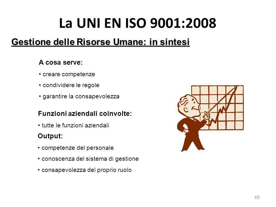 La UNI EN ISO 9001:2008 49 Gestione delle Risorse Umane: in sintesi A cosa serve: creare competenze condividere le regole garantire la consapevolezza Funzioni aziendali coinvolte: tutte le funzioni aziendali Output: competenze del personale conoscenza del sistema di gestione consapevolezza del proprio ruolo