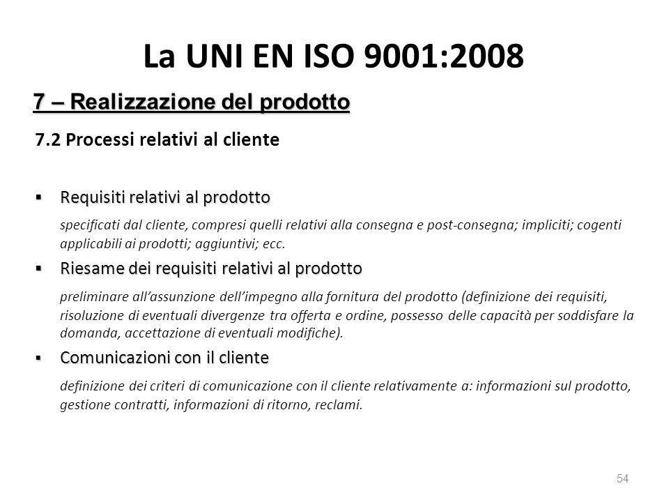 La UNI EN ISO 9001:2008 7.2 Processi relativi al cliente  Requisiti relativi al prodotto specificati dal cliente, compresi quelli relativi alla consegna e post-consegna; impliciti; cogenti applicabili ai prodotti; aggiuntivi; ecc.