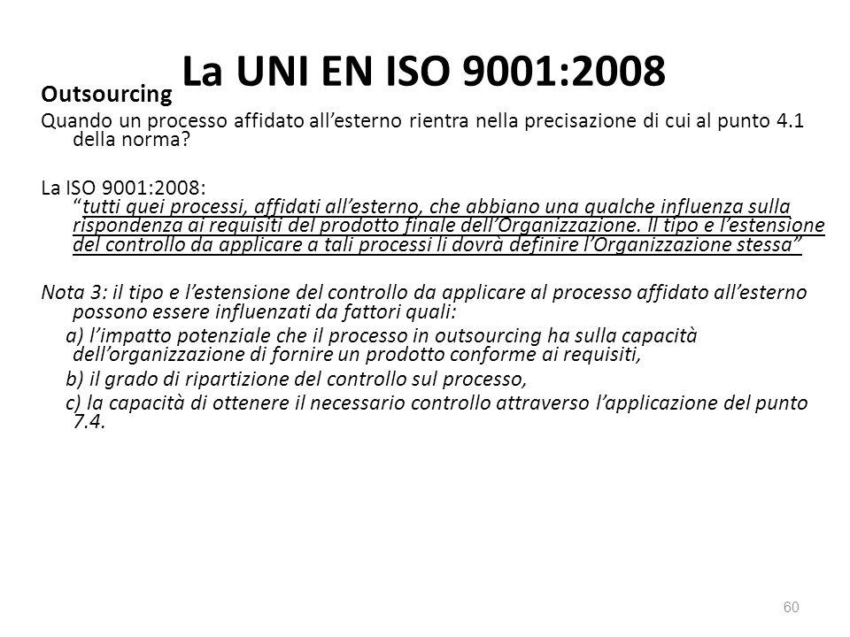 La UNI EN ISO 9001:2008 Outsourcing Quando un processo affidato all'esterno rientra nella precisazione di cui al punto 4.1 della norma.