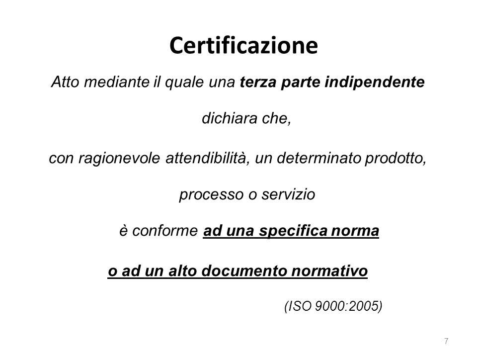 Certificazione 7 Atto mediante il quale una terza parte indipendente dichiara che, con ragionevole attendibilità, un determinato prodotto, processo o servizio è conforme ad una specifica norma o ad un alto documento normativo (ISO 9000:2005)