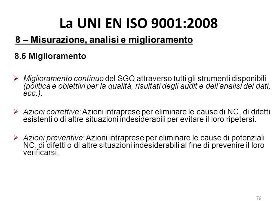 La UNI EN ISO 9001:2008 79 8 – Misurazione, analisi e miglioramento 8.5 Miglioramento  Miglioramento continuo del SGQ attraverso tutti gli strumenti disponibili (politica e obiettivi per la qualità, risultati degli audit e dell'analisi dei dati, ecc.).