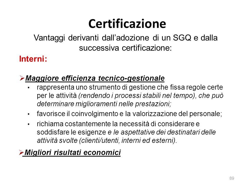 Certificazione 89 Vantaggi derivanti dall'adozione di un SGQ e dalla successiva certificazione: Interni:  Maggiore efficienza tecnico-gestionale rapp