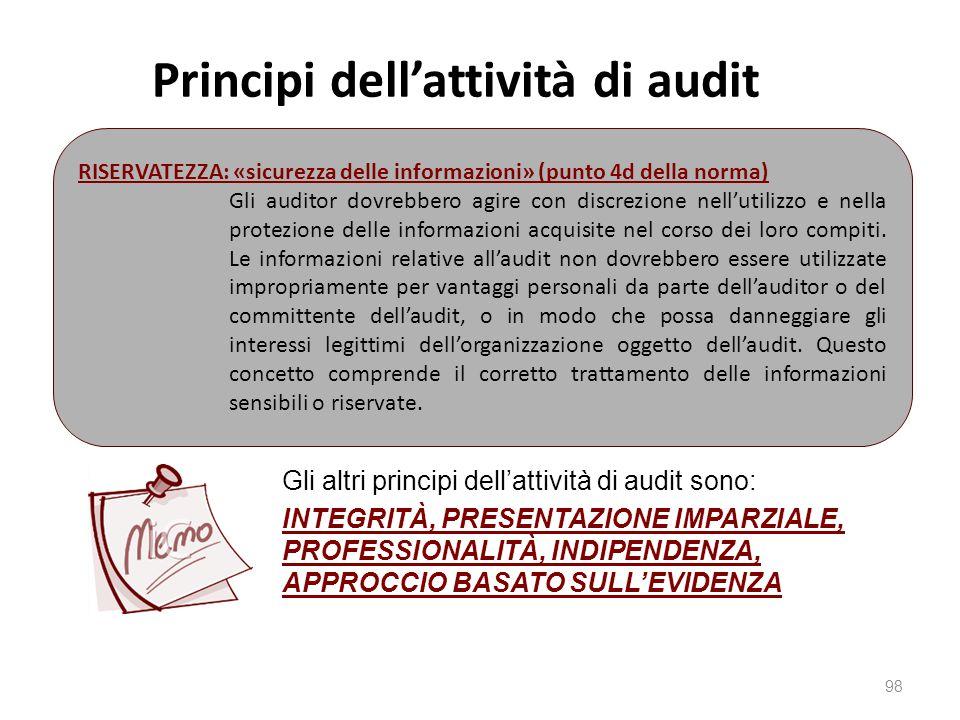 Principi dell'attività di audit 98 RISERVATEZZA: «sicurezza delle informazioni» (punto 4d della norma) Gli auditor dovrebbero agire con discrezione nell'utilizzo e nella protezione delle informazioni acquisite nel corso dei loro compiti.