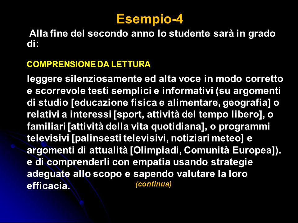 Esempio-4 Alla fine del secondo anno lo studente sarà in grado di: COMPRENSIONE DA LETTURA leggere silenziosamente ed alta voce in modo corretto e sco