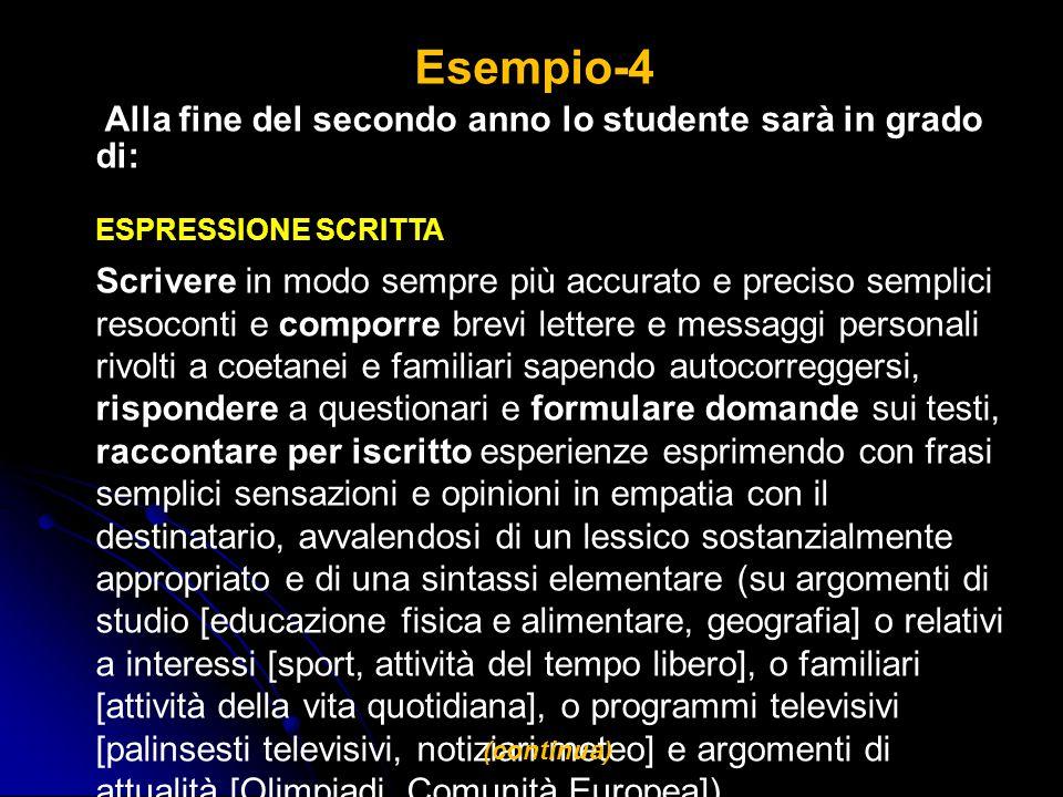 Esempio-4 Alla fine del secondo anno lo studente sarà in grado di: ESPRESSIONE SCRITTA Scrivere in modo sempre più accurato e preciso semplici resocon