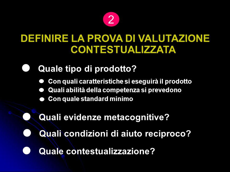 DEFINIRE LA PROVA DI VALUTAZIONE CONTESTUALIZZATA Quale tipo di prodotto? Con quali caratteristiche si eseguirà il prodotto Quali evidenze metacogniti