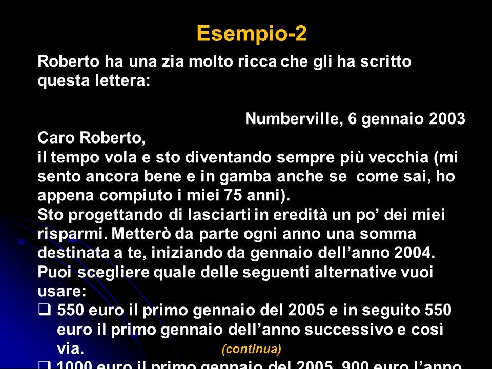 Roberto ha una zia molto ricca che gli ha scritto questa lettera: Numberville, 6 gennaio 2003 Caro Roberto, il tempo vola e sto diventando sempre più