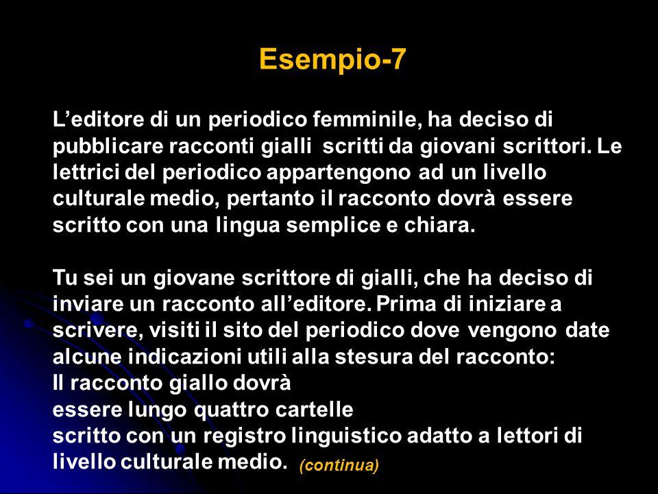 Esempio-7 L'editore di un periodico femminile, ha deciso di pubblicare racconti gialli scritti da giovani scrittori. Le lettrici del periodico apparte