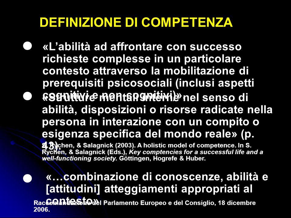 DEFINIZIONE DI COMPETENZA «L'abilità ad affrontare con successo richieste complesse in un particolare contesto attraverso la mobilitazione di prerequi
