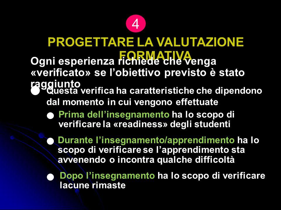 PROGETTARE LA VALUTAZIONE FORMATIVA 4 Ogni esperienza richiede che venga «verificato» se l'obiettivo previsto è stato raggiunto Prima dell'insegnament