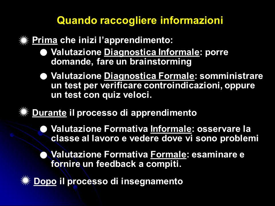 Durante il processo di apprendimento Valutazione Diagnostica Informale: porre domande, fare un brainstorming Valutazione Diagnostica Formale: somminis