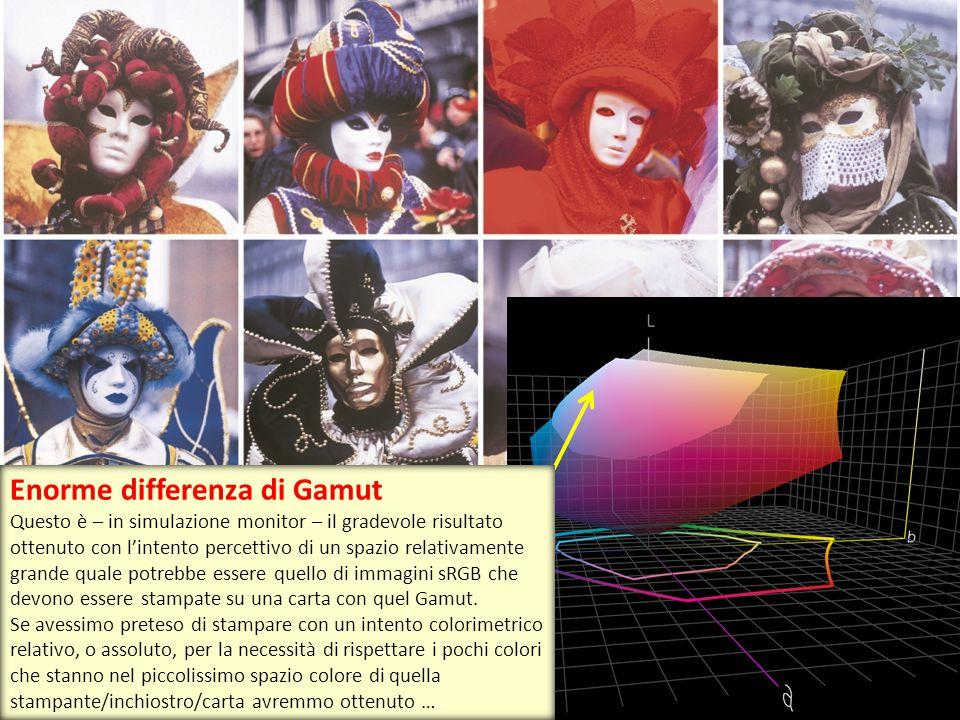 Enorme differenza di Gamut Questo è – in simulazione monitor – il gradevole risultato ottenuto con l'intento percettivo di un spazio relativamente gra