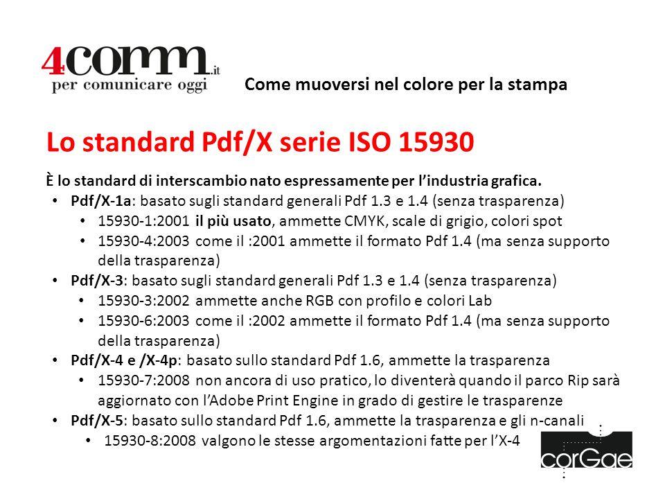 Come muoversi nel colore per la stampa Lo standard Pdf/X serie ISO 15930 È lo standard di interscambio nato espressamente per l'industria grafica. Pdf