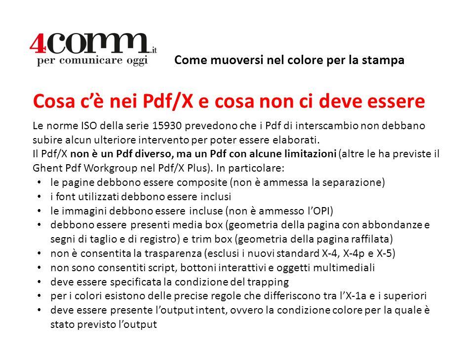 Come muoversi nel colore per la stampa Cosa c'è nei Pdf/X e cosa non ci deve essere Le norme ISO della serie 15930 prevedono che i Pdf di interscambio