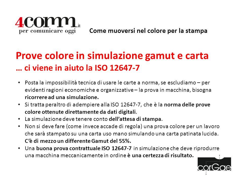 Come muoversi nel colore per la stampa Prove colore in simulazione gamut e carta … ci viene in aiuto la ISO 12647-7 Posta la impossibilità tecnica di