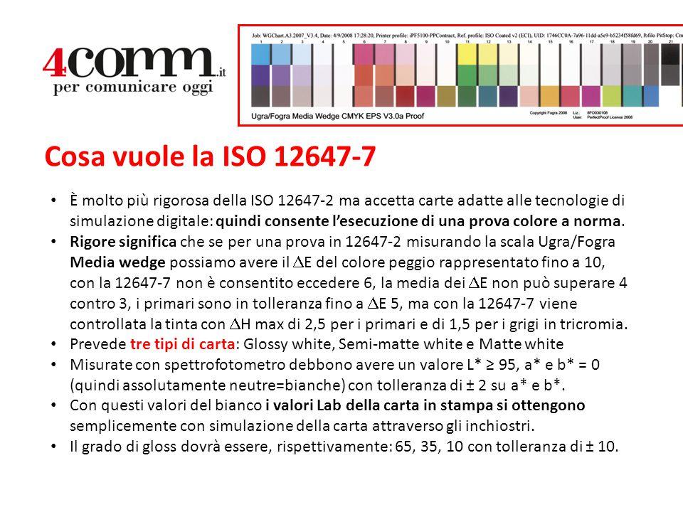 Cosa vuole la ISO 12647-7 È molto più rigorosa della ISO 12647-2 ma accetta carte adatte alle tecnologie di simulazione digitale: quindi consente l'es