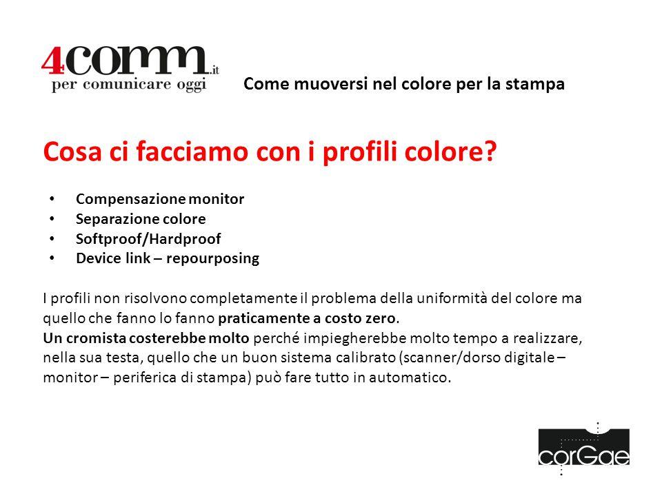 Come muoversi nel colore per la stampa Cosa ci facciamo con i profili colore? Compensazione monitor Separazione colore Softproof/Hardproof Device link
