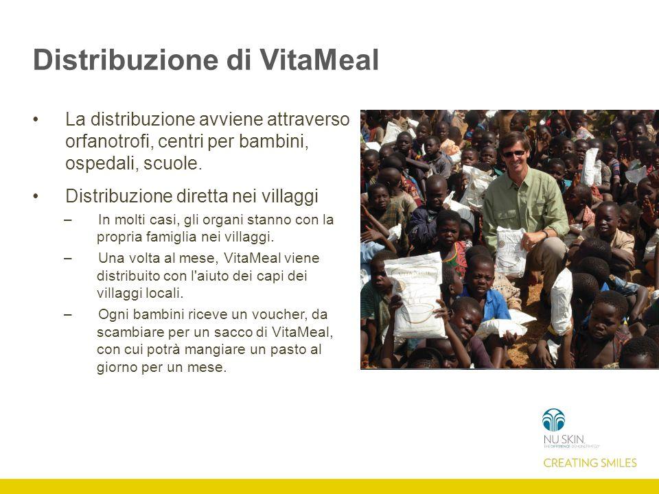Distribuzione di VitaMeal La distribuzione avviene attraverso orfanotrofi, centri per bambini, ospedali, scuole.