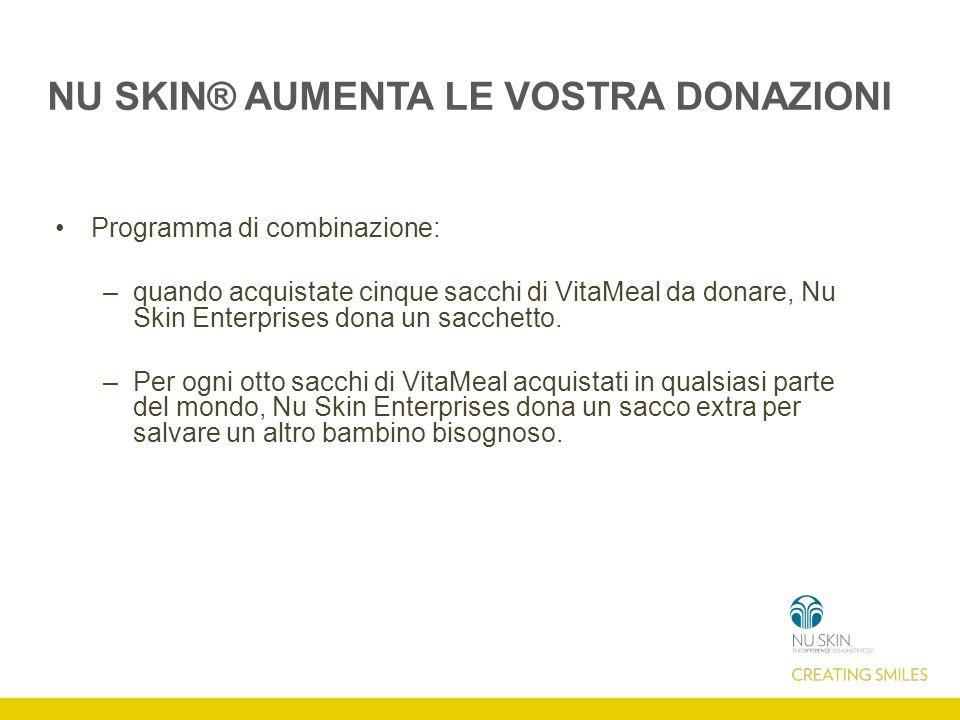 NU SKIN® AUMENTA LE VOSTRA DONAZIONI Programma di combinazione: –quando acquistate cinque sacchi di VitaMeal da donare, Nu Skin Enterprises dona un sacchetto.