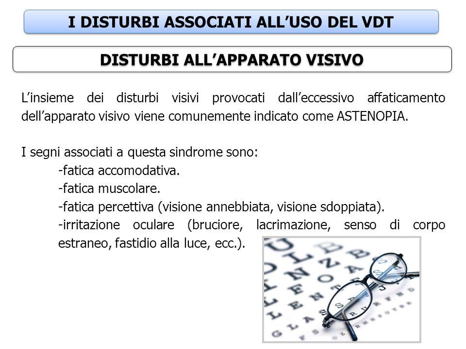 I DISTURBI ASSOCIATI ALL'USO DEL VDT DISTURBI ALL'APPARATO VISIVO L'insieme dei disturbi visivi provocati dall'eccessivo affaticamento dell'apparato v