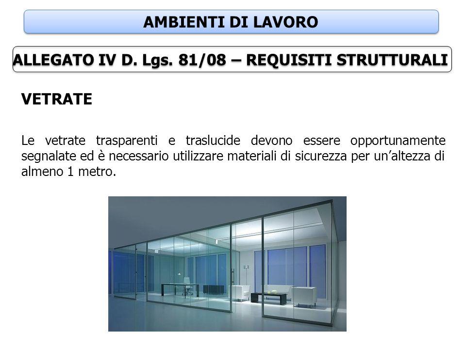 AMBIENTI DI LAVORO VETRATE Le vetrate trasparenti e traslucide devono essere opportunamente segnalate ed è necessario utilizzare materiali di sicurezz