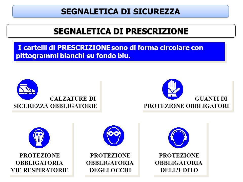 SEGNALETICA DI SICUREZZA SEGNALETICA DI PRESCRIZIONE I cartelli di PRESCRIZIONE sono di forma circolare con pittogrammi bianchi su fondo blu. GUANTI D
