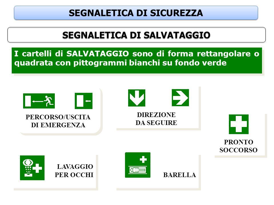 SEGNALETICA DI SICUREZZA SEGNALETICA DI SALVATAGGIO I cartelli di SALVATAGGIO sono di forma rettangolare o quadrata con pittogrammi bianchi su fondo v