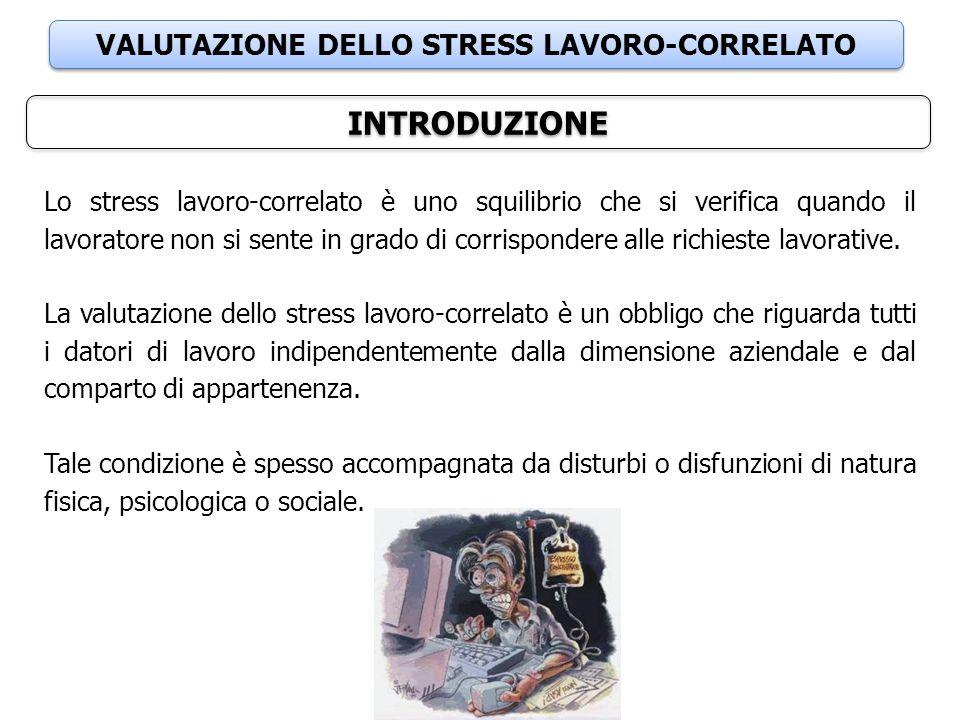 VALUTAZIONE DELLO STRESS LAVORO-CORRELATO INTRODUZIONE Lo stress lavoro-correlato è uno squilibrio che si verifica quando il lavoratore non si sente i