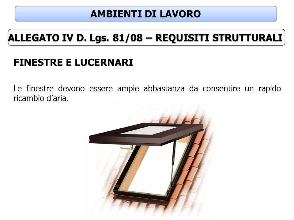 AMBIENTI DI LAVORO ALLEGATO IV D. Lgs. 81/08 – REQUISITI STRUTTURALI FINESTRE E LUCERNARI Le finestre devono essere ampie abbastanza da consentire un
