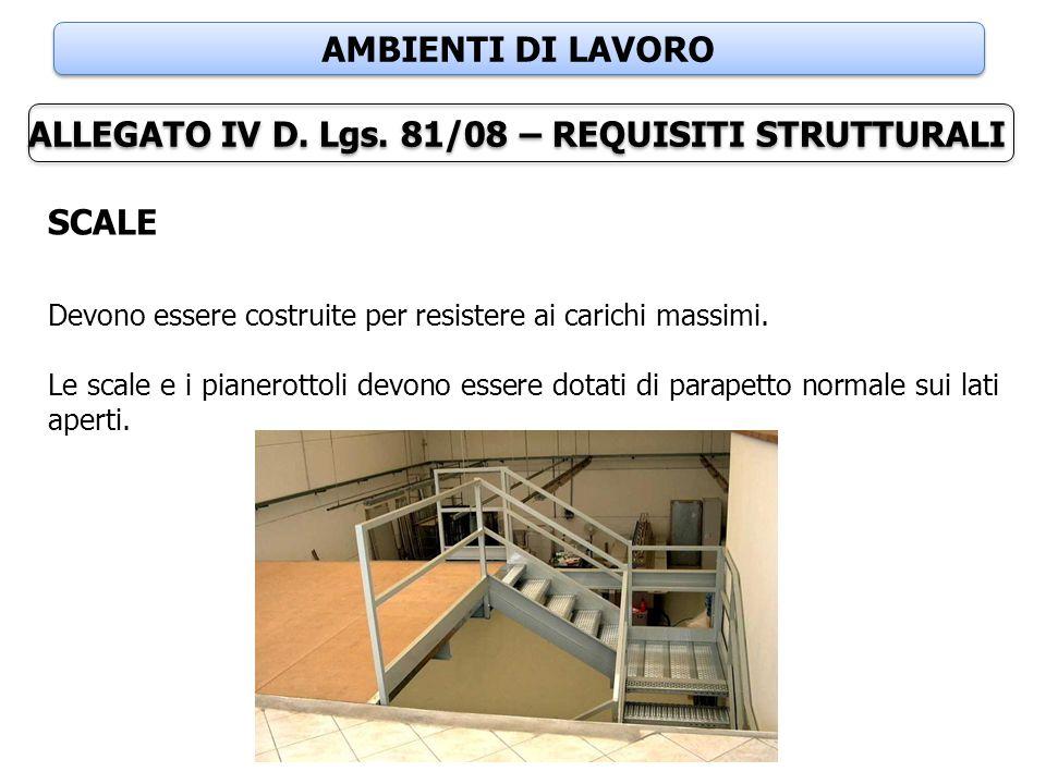 AMBIENTI DI LAVORO ALLEGATO IV D. Lgs. 81/08 – REQUISITI STRUTTURALI SCALE Devono essere costruite per resistere ai carichi massimi. Le scale e i pian