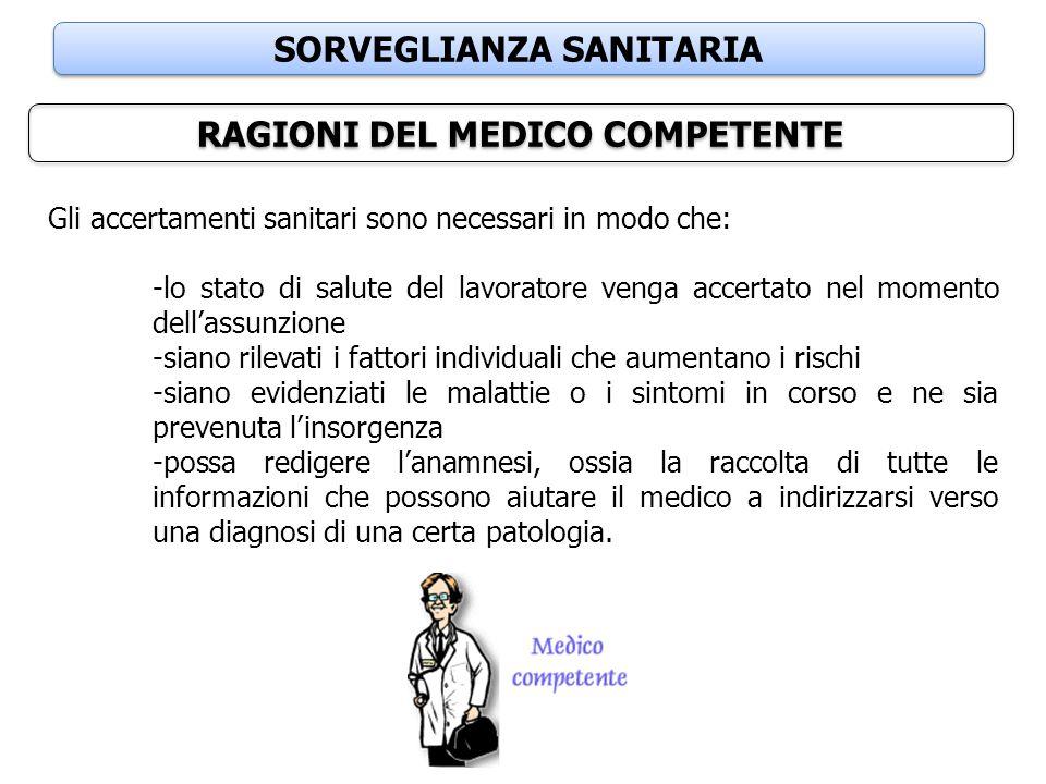 SORVEGLIANZA SANITARIA RAGIONI DEL MEDICO COMPETENTE Gli accertamenti sanitari sono necessari in modo che: -lo stato di salute del lavoratore venga ac