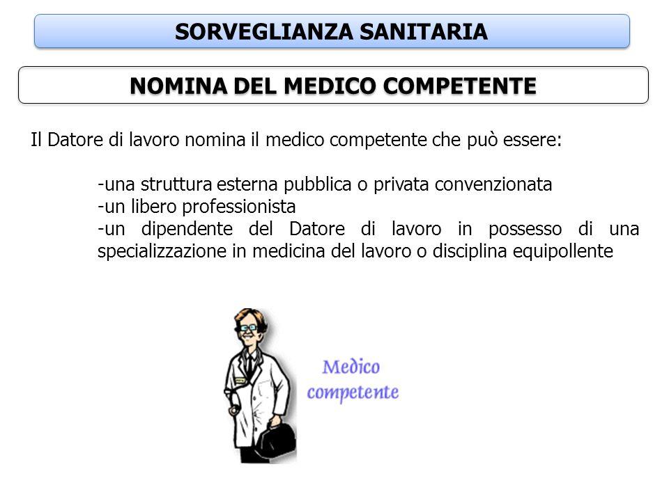 SORVEGLIANZA SANITARIA NOMINA DEL MEDICO COMPETENTE Il Datore di lavoro nomina il medico competente che può essere: -una struttura esterna pubblica o