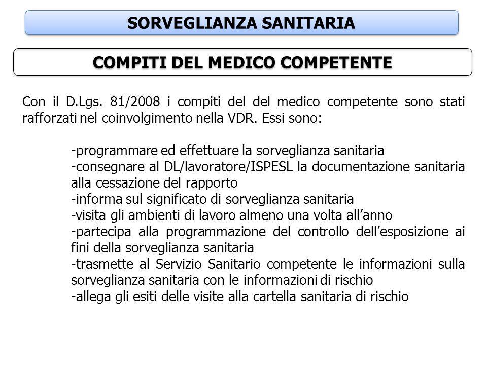 SORVEGLIANZA SANITARIA COMPITI DEL MEDICO COMPETENTE Con il D.Lgs. 81/2008 i compiti del del medico competente sono stati rafforzati nel coinvolgiment