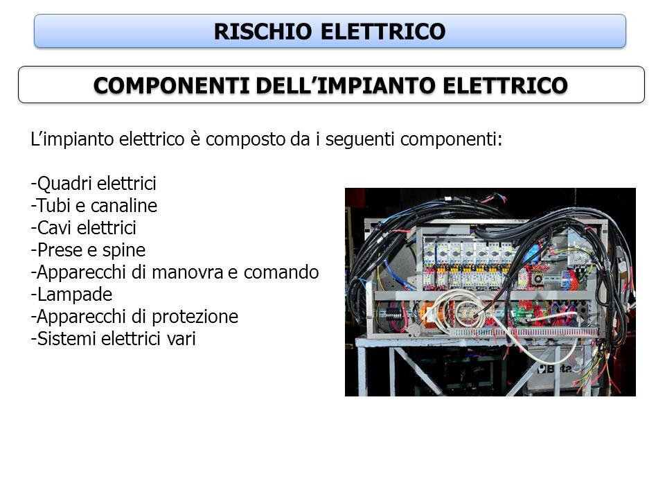 RISCHIO ELETTRICO COMPONENTI DELL'IMPIANTO ELETTRICO L'impianto elettrico è composto da i seguenti componenti: -Quadri elettrici -Tubi e canaline -Cav