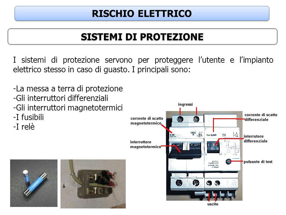 RISCHIO ELETTRICO SISTEMI DI PROTEZIONE I sistemi di protezione servono per proteggere l'utente e l'impianto elettrico stesso in caso di guasto. I pri