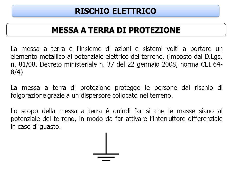 RISCHIO ELETTRICO MESSA A TERRA DI PROTEZIONE La messa a terra è l'insieme di azioni e sistemi volti a portare un elemento metallico al potenziale ele