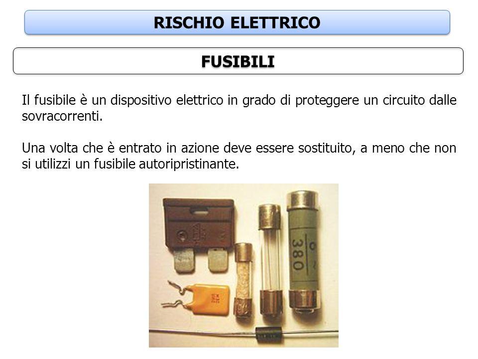 RISCHIO ELETTRICO FUSIBILI Il fusibile è un dispositivo elettrico in grado di proteggere un circuito dalle sovracorrenti. Una volta che è entrato in a