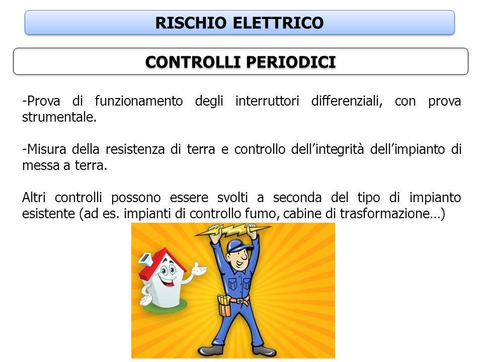 RISCHIO ELETTRICO CONTROLLI PERIODICI -Prova di funzionamento degli interruttori differenziali, con prova strumentale. -Misura della resistenza di ter