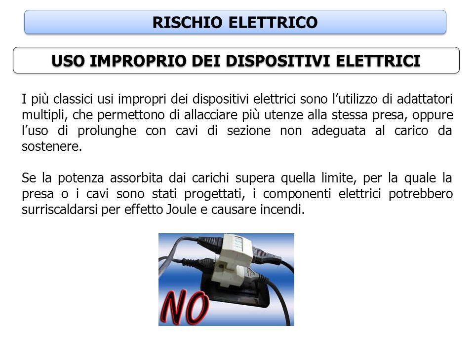 RISCHIO ELETTRICO USO IMPROPRIO DEI DISPOSITIVI ELETTRICI I più classici usi impropri dei dispositivi elettrici sono l'utilizzo di adattatori multipli
