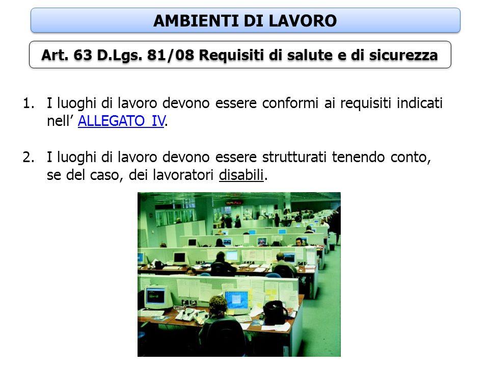 AMBIENTI DI LAVORO Art. 63 D.Lgs. 81/08 Requisiti di salute e di sicurezza 1.I luoghi di lavoro devono essere conformi ai requisiti indicati nell' ALL