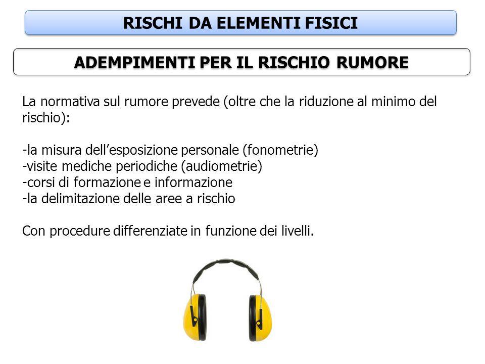 RISCHI DA ELEMENTI FISICI ADEMPIMENTI PER IL RISCHIO RUMORE La normativa sul rumore prevede (oltre che la riduzione al minimo del rischio): -la misura
