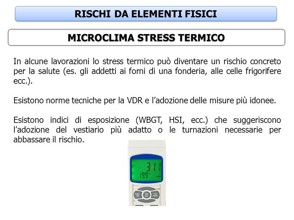 RISCHI DA ELEMENTI FISICI MICROCLIMA STRESS TERMICO In alcune lavorazioni lo stress termico può diventare un rischio concreto per la salute (es. gli a
