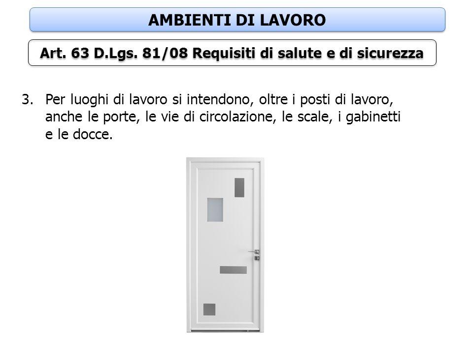 AMBIENTI DI LAVORO Art. 63 D.Lgs. 81/08 Requisiti di salute e di sicurezza 3.Per luoghi di lavoro si intendono, oltre i posti di lavoro, anche le port