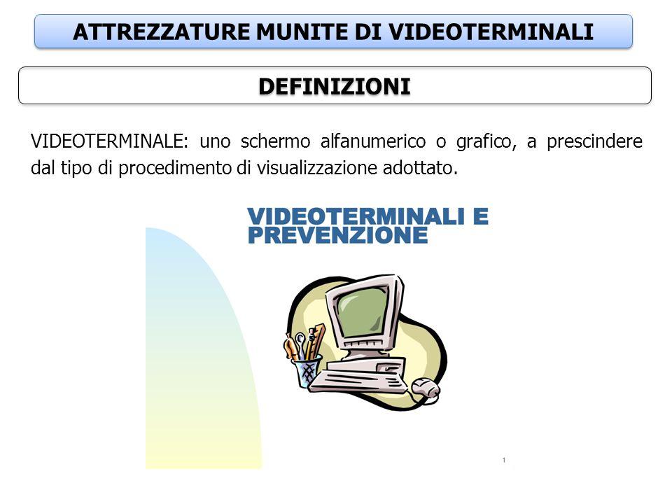 ATTREZZATURE MUNITE DI VIDEOTERMINALI DEFINIZIONI VIDEOTERMINALE: uno schermo alfanumerico o grafico, a prescindere dal tipo di procedimento di visual