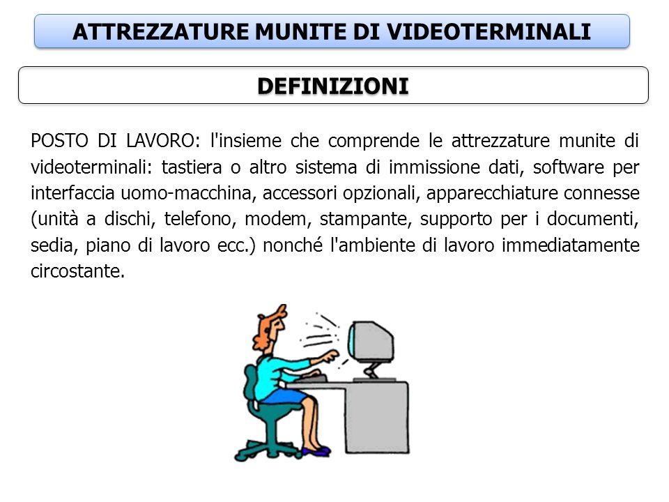 ATTREZZATURE MUNITE DI VIDEOTERMINALI DEFINIZIONI POSTO DI LAVORO: l'insieme che comprende le attrezzature munite di videoterminali: tastiera o altro